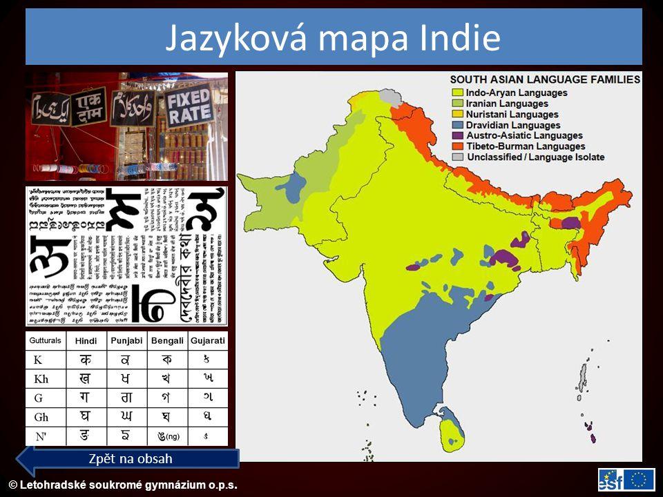 © Letohradské soukromé gymnázium o.p.s. Jazyková mapa Indie Zpět na obsah