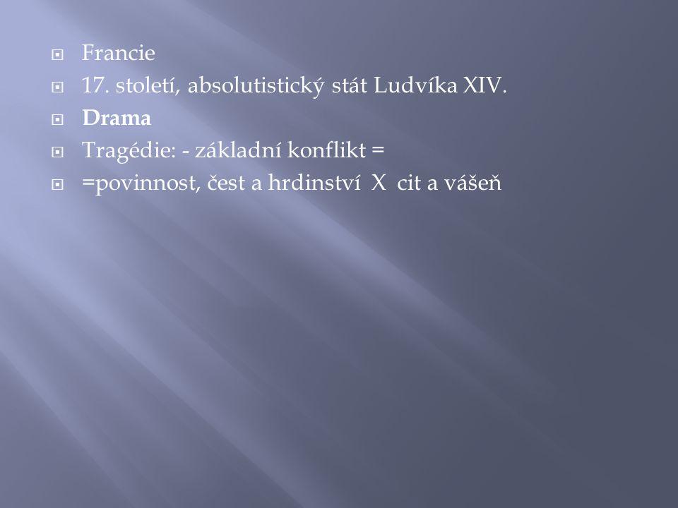  Francie  17. století, absolutistický stát Ludvíka XIV.  Drama  Tragédie: - základní konflikt =  =povinnost, čest a hrdinství X cit a vášeň
