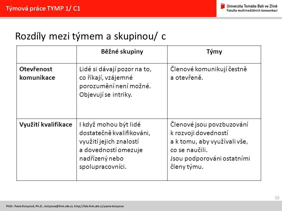 10 PhDr. Pavla Kotyzová, Ph.D., kotyzova@fmk.utb.cz, http://lide.fmk.utb.cz/pavla-kotyzova Rozdíly mezi týmem a skupinou/ c Týmová práce TYMP 1/ C1 Bě
