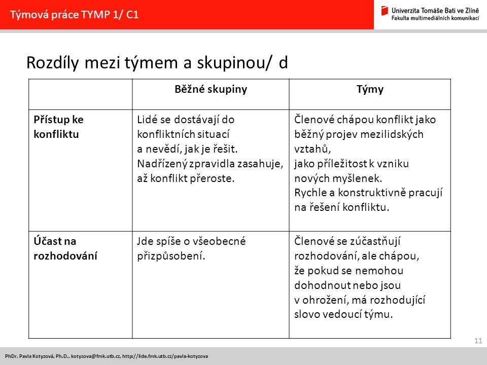 11 PhDr. Pavla Kotyzová, Ph.D., kotyzova@fmk.utb.cz, http://lide.fmk.utb.cz/pavla-kotyzova Rozdíly mezi týmem a skupinou/ d Týmová práce TYMP 1/ C1 Bě