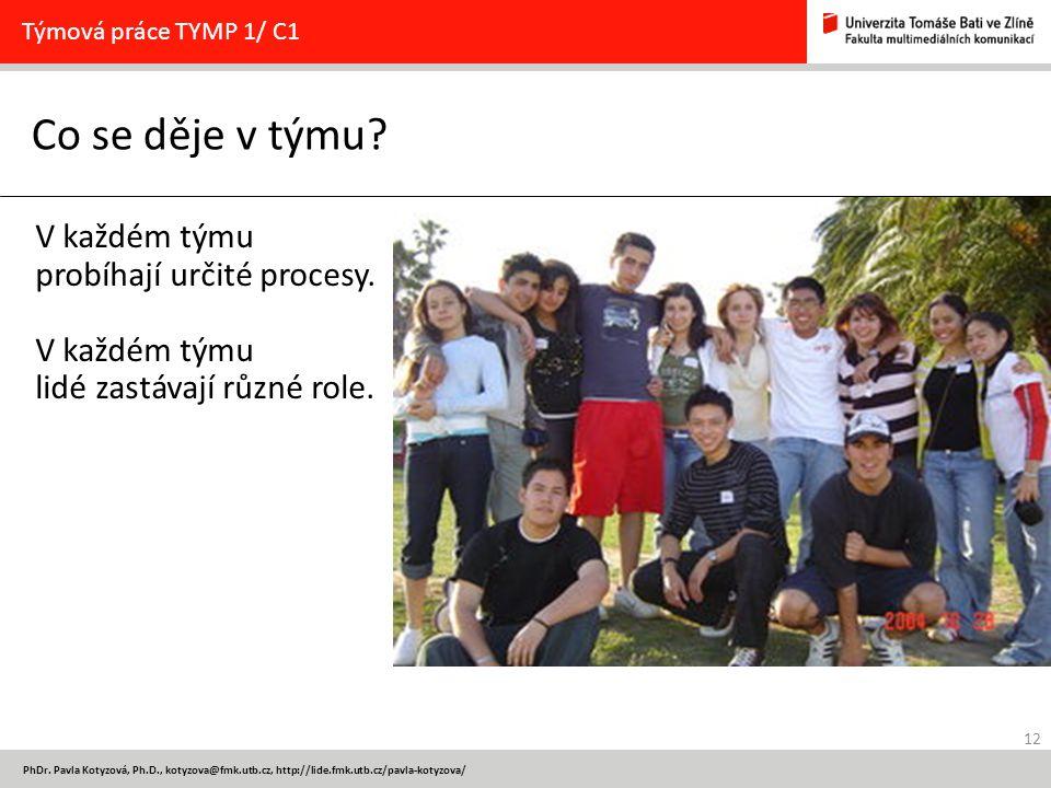 12 PhDr. Pavla Kotyzová, Ph.D., kotyzova@fmk.utb.cz, http://lide.fmk.utb.cz/pavla-kotyzova/ Co se děje v týmu? Týmová práce TYMP 1/ C1 V každém týmu p