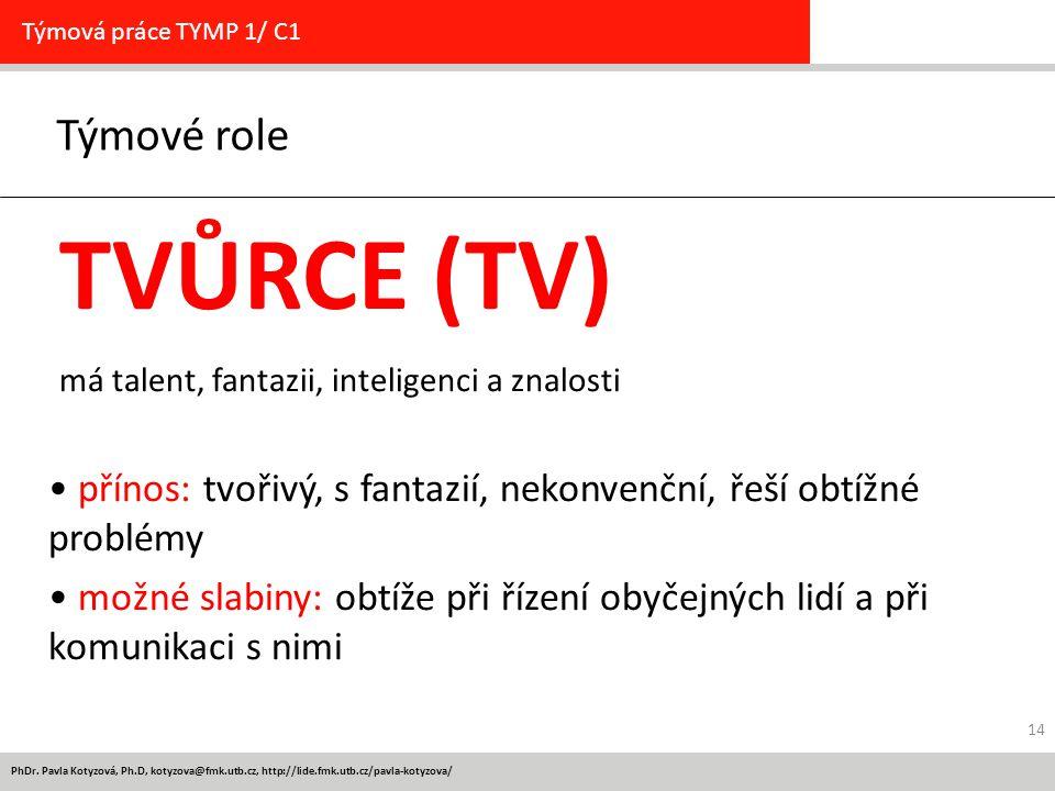 PhDr. Pavla Kotyzová, Ph.D, kotyzova@fmk.utb.cz, http://lide.fmk.utb.cz/pavla-kotyzova/ Týmové role Týmová práce TYMP 1/ C1 TVŮRCE (TV) má talent, fan