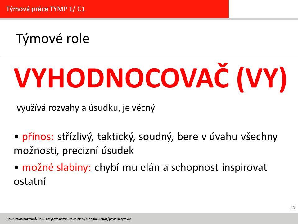 PhDr. Pavla Kotyzová, Ph.D, kotyzova@fmk.utb.cz, http://lide.fmk.utb.cz/pavla-kotyzova/ Týmové role Týmová práce TYMP 1/ C1 VYHODNOCOVAČ (VY) využívá