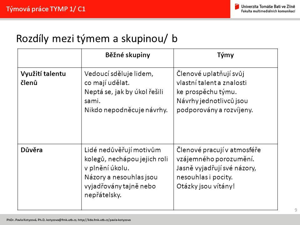 9 PhDr. Pavla Kotyzová, Ph.D, kotyzova@fmk.utb.cz, http://lide.fmk.utb.cz/pavla-kotyzova Rozdíly mezi týmem a skupinou/ b Týmová práce TYMP 1/ C1 Běžn