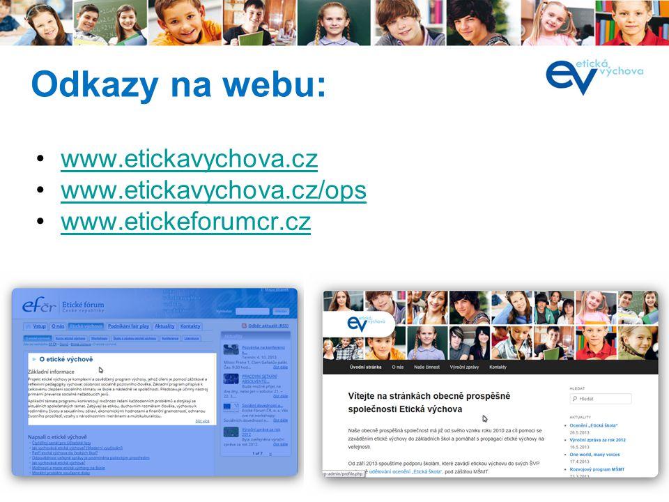í www.etickavychova.cz www.etickavychova.cz/ops www.etickeforumcr.cz Odkazy na webu: