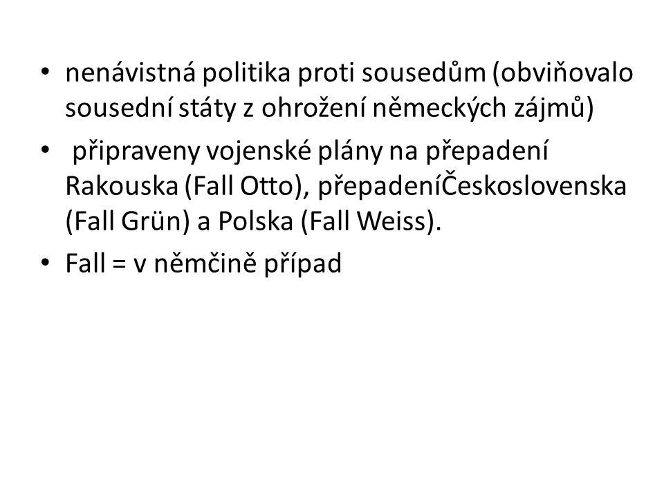 nenávistná politika proti sousedům (obviňovalo sousední státy z ohrožení německých zájmů) připraveny vojenské plány na přepadení Rakouska (Fall Otto), přepadeníČeskoslovenska (Fall Grün) a Polska (Fall Weiss).