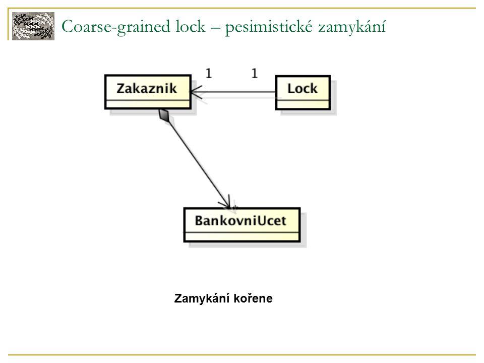Coarse-grained lock – pesimistické zamykání Zamykání kořene