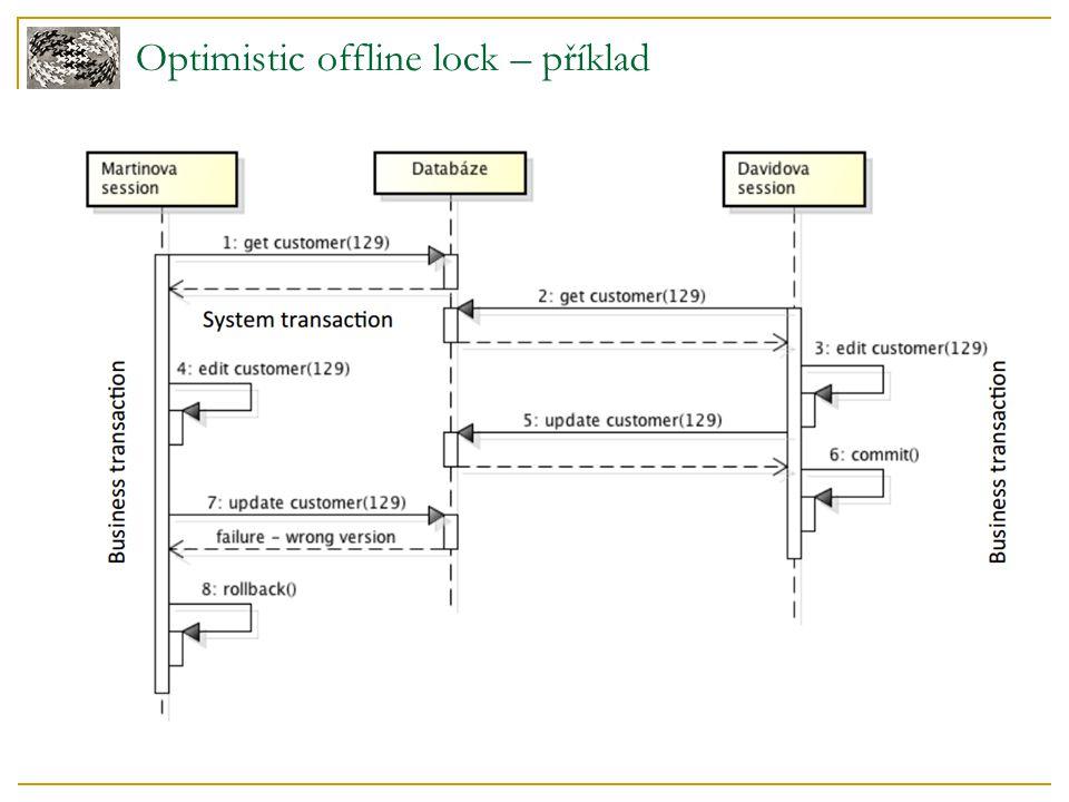 Pessimistic offline lock - Deadlock Deadlock  transakce 1 drží lock na zdroj 1 a požaduje zámek na zdroj 2  transakce 2 drží lock na zdroj 2 a požaduje zámek na zdroj 1  protože obě transakce nemohou pokračovat dokud nebudou zdroje volné a obě transakce nemohou uvolnit zámky, vzniká deadlock Řešení  nečekat na zámky  zrušit transakci při prvním nedostupném zámku
