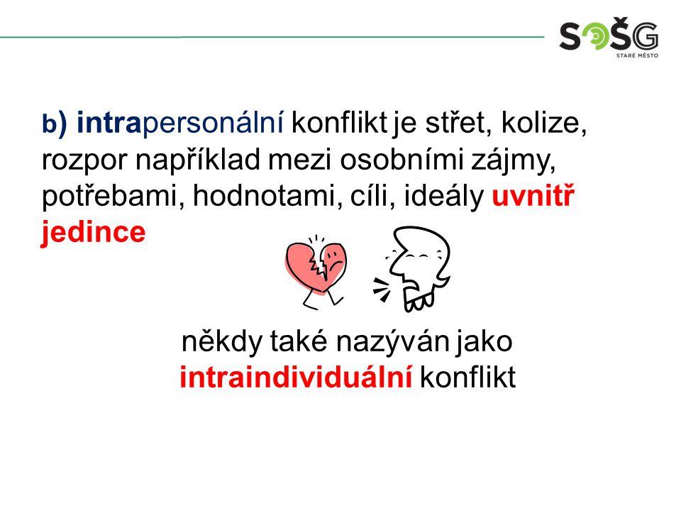 b ) intrapersonální konflikt je střet, kolize, rozpor například mezi osobními zájmy, potřebami, hodnotami, cíli, ideály uvnitř jedince někdy také nazýván jako intraindividuální konflikt