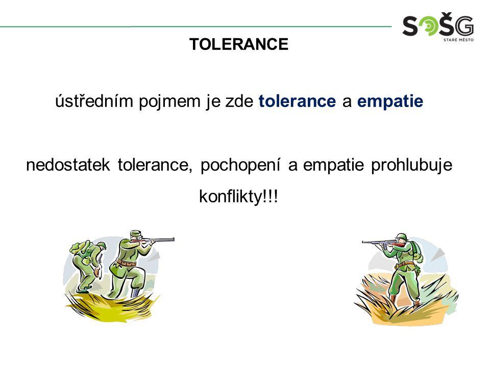 TOLERANCE ústředním pojmem je zde tolerance a empatie nedostatek tolerance, pochopení a empatie prohlubuje konflikty!!!