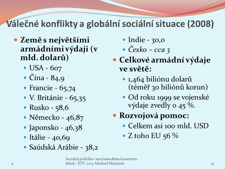 Válečné konflikty a globální sociální situace (2008) Země s největšími armádními výdaji (v mld. dolarů) USA - 607 Čína - 84,9 Francie - 65,74 V. Britá