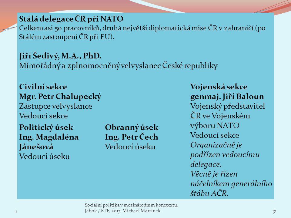Stálá delegace ČR při NATO Celkem asi 50 pracovníků, druhá největší diplomatická mise ČR v zahraničí (po Stálém zastoupení ČR při EU). Jiří Šedivý, M.
