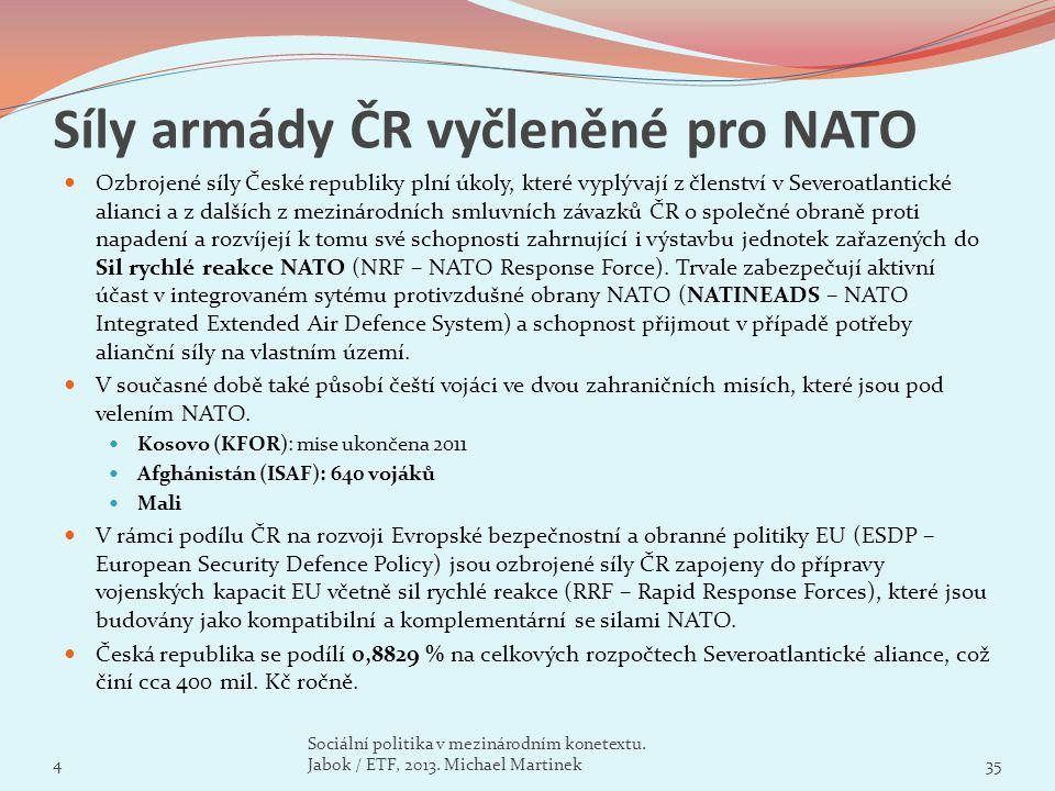 Síly armády ČR vyčleněné pro NATO Ozbrojené síly České republiky plní úkoly, které vyplývají z členství v Severoatlantické alianci a z dalších z mezin