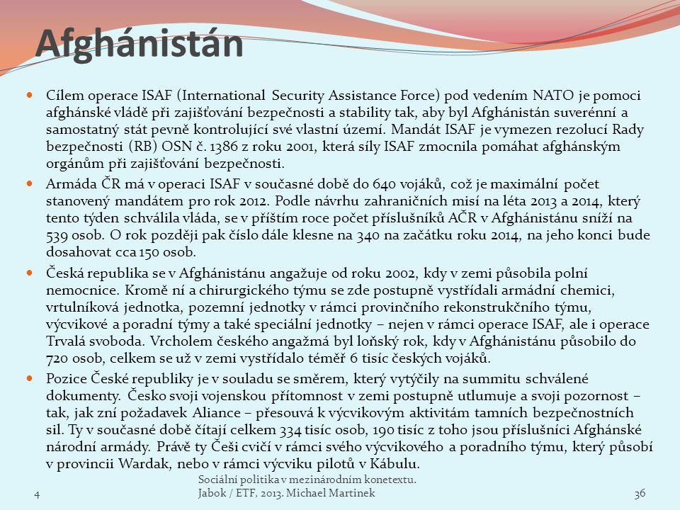 Afghánistán Cílem operace ISAF (International Security Assistance Force) pod vedením NATO je pomoci afghánské vládě při zajišťování bezpečnosti a stab