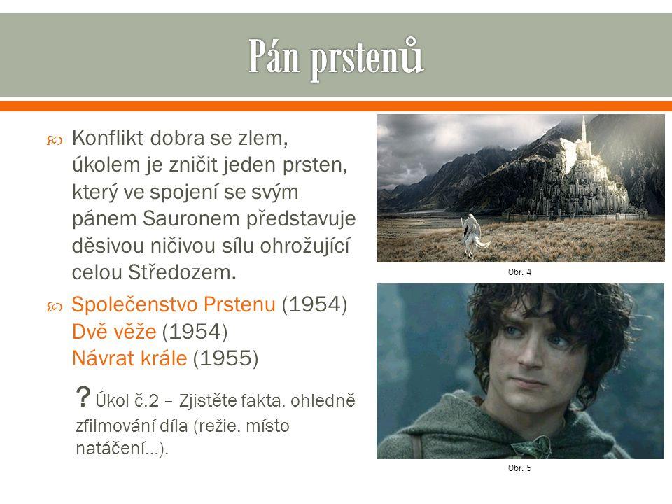  Na počátku příběhu se hobit Frodo dozví od čaroděje Gandalfa, že jeho prsten, který zdědil po Bilbovi, je ve skutečnosti Jeden prsten, který si kdysi nechal vyrobit temný pán Sauron a nechal do prstenu přejít velkou část své moci, aby si s jeho pomocí podrobil obyvatelstvo Středozemě.