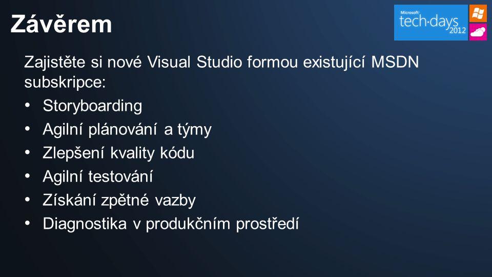 Zajistěte si nové Visual Studio formou existující MSDN subskripce: Storyboarding Agilní plánování a týmy Zlepšení kvality kódu Agilní testování Získán