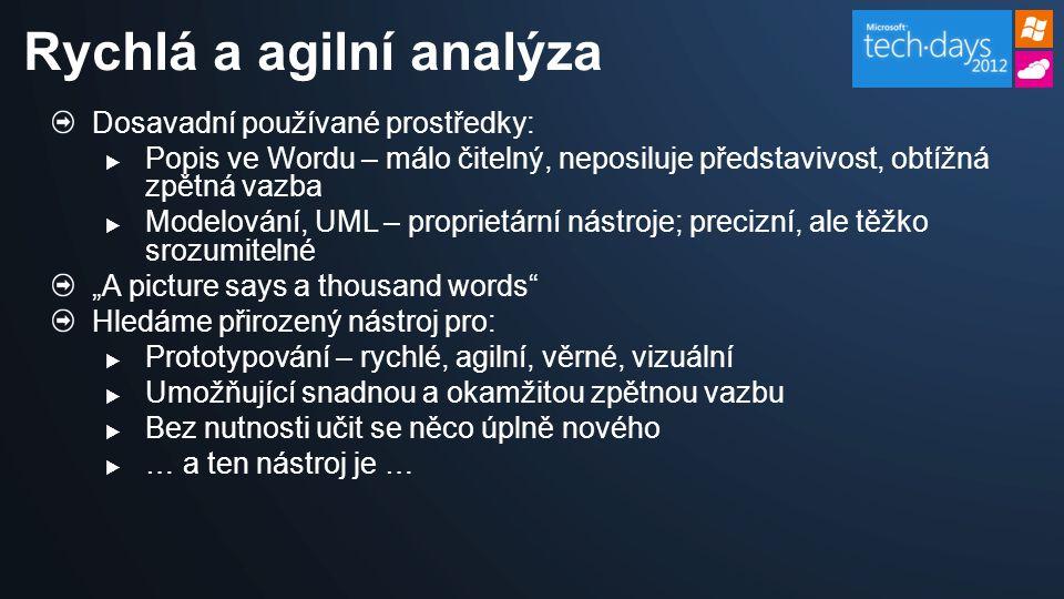 Dosavadní používané prostředky:  Popis ve Wordu – málo čitelný, neposiluje představivost, obtížná zpětná vazba  Modelování, UML – proprietární nástr