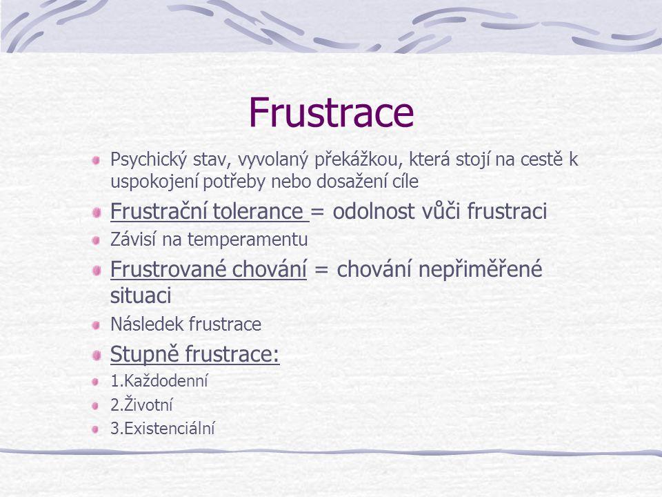 Frustrace Psychický stav, vyvolaný překážkou, která stojí na cestě k uspokojení potřeby nebo dosažení cíle Frustrační tolerance = odolnost vůči frustr
