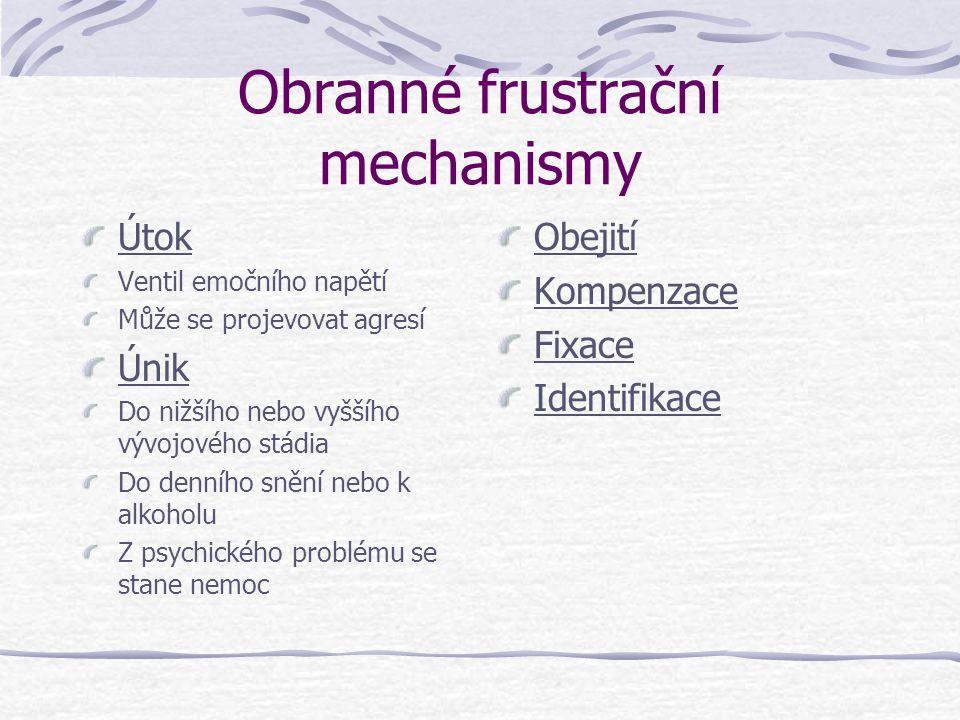 Obranné frustrační mechanismy Útok Ventil emočního napětí Může se projevovat agresí Únik Do nižšího nebo vyššího vývojového stádia Do denního snění ne