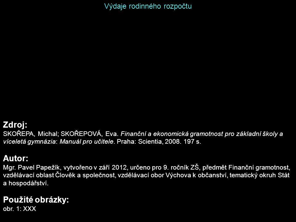 Výdaje rodinného rozpočtu Zdroj: SKOŘEPA, Michal; SKOŘEPOVÁ, Eva.