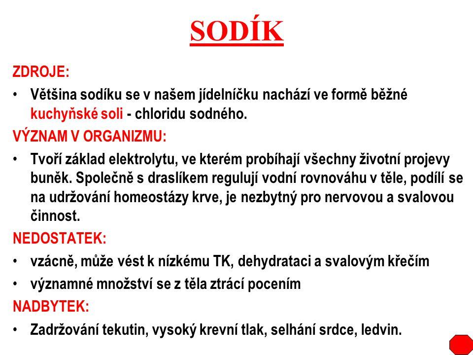 SODÍK ZDROJE: Většina sodíku se v našem jídelníčku nachází ve formě běžné kuchyňské soli - chloridu sodného. VÝZNAM V ORGANIZMU: Tvoří základ elektrol
