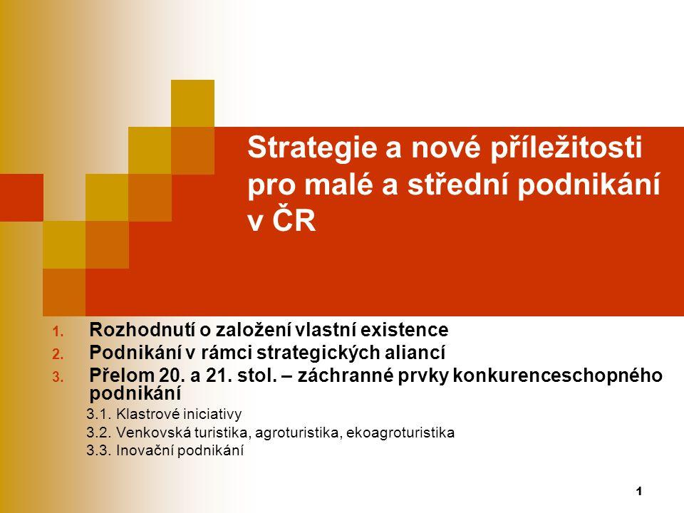 1 Strategie a nové příležitosti pro malé a střední podnikání v ČR 1. Rozhodnutí o založení vlastní existence 2. Podnikání v rámci strategických alianc