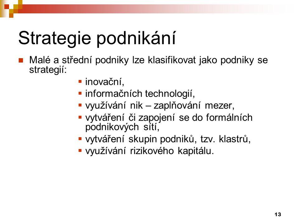 13 Strategie podnikání Malé a střední podniky lze klasifikovat jako podniky se strategií:  inovační,  informačních technologií,  využívání nik – za