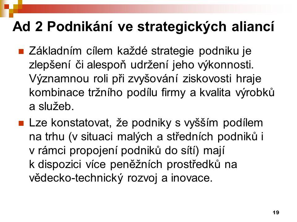 19 Ad 2 Podnikání ve strategických aliancí Základním cílem každé strategie podniku je zlepšení či alespoň udržení jeho výkonnosti. Významnou roli při