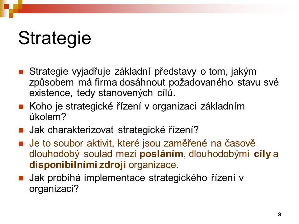3 Strategie Strategie vyjadřuje základní představy o tom, jakým způsobem má firma dosáhnout požadovaného stavu své existence, tedy stanovených cílů. K