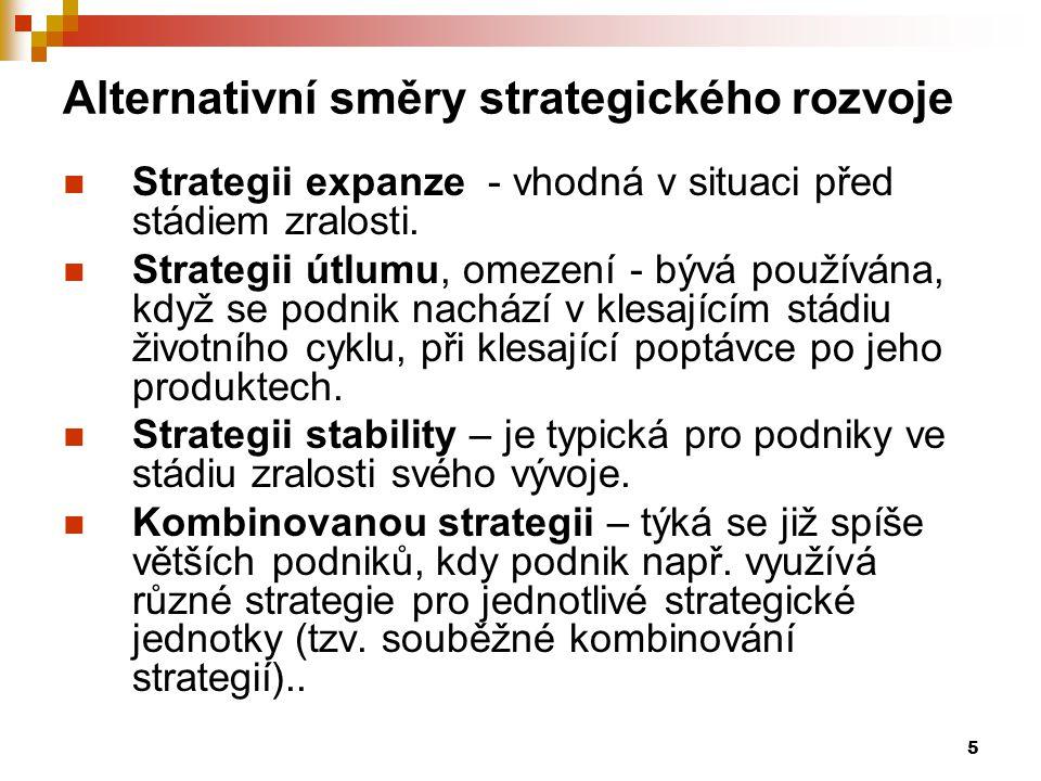 5 Alternativní směry strategického rozvoje Strategii expanze - vhodná v situaci před stádiem zralosti. Strategii útlumu, omezení - bývá používána, kdy