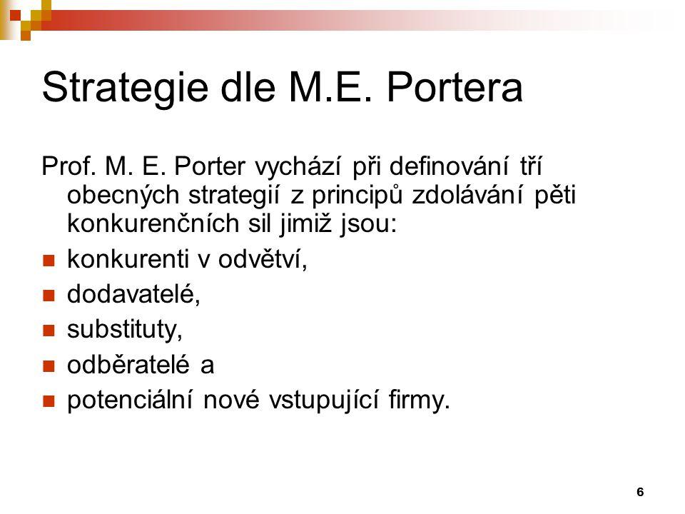 6 Strategie dle M.E. Portera Prof. M. E. Porter vychází při definování tří obecných strategií z principů zdolávání pěti konkurenčních sil jimiž jsou: