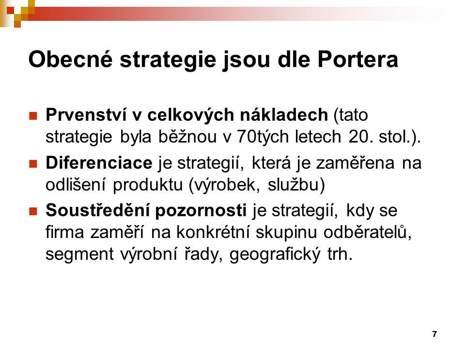 7 Obecné strategie jsou dle Portera Prvenství v celkových nákladech (tato strategie byla běžnou v 70tých letech 20. stol.). Diferenciace je strategií,