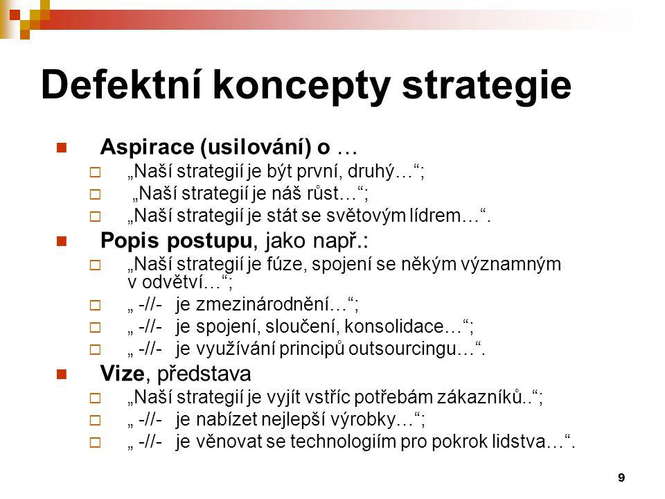 """9 Defektní koncepty strategie Aspirace (usilování) o …  """"Naší strategií je být první, druhý…"""";  """"Naší strategií je náš růst…"""";  """"Naší strategií je"""