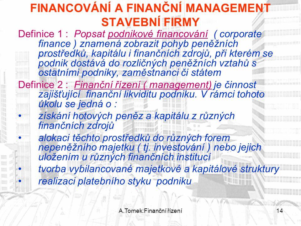 A.Tomek:Finanční řízení14 FINANCOVÁNÍ A FINANČNÍ MANAGEMENT STAVEBNÍ FIRMY Definice 1 : Popsat podnikové financování ( corporate finance ) znamená zob