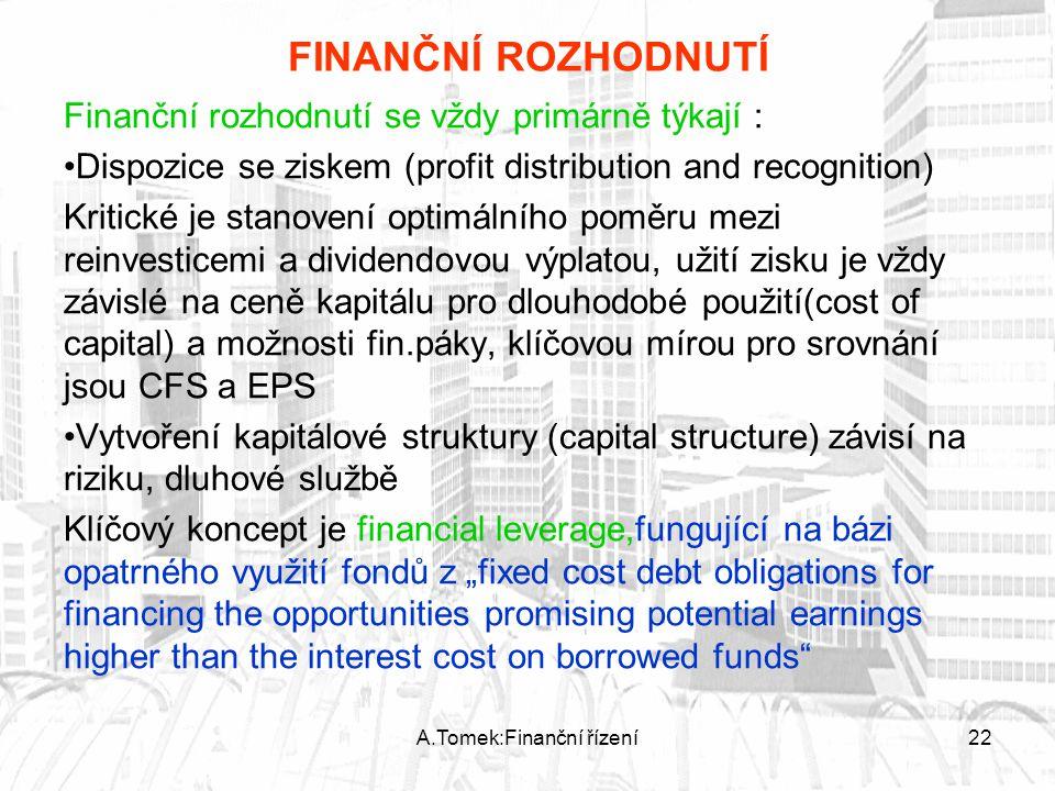 A.Tomek:Finanční řízení22 FINANČNÍ ROZHODNUTÍ Finanční rozhodnutí se vždy primárně týkají : Dispozice se ziskem (profit distribution and recognition)