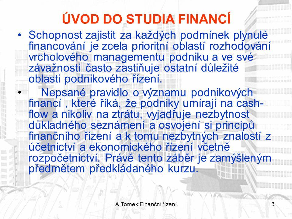 A.Tomek:Finanční řízení3 ÚVOD DO STUDIA FINANCÍ Schopnost zajistit za každých podmínek plynulé financování je zcela prioritní oblastí rozhodování vrch