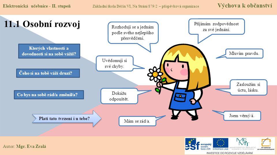 Autor: Mgr.Eva Zralá 11.1 Osobní rozvoj Elektronická učebnice - II.