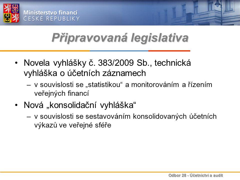 """Odbor 28 - Účetnictví a audit Připravovaná legislativa Novela vyhlášky č. 383/2009 Sb., technická vyhláška o účetních záznamech –v souvislosti se """"sta"""