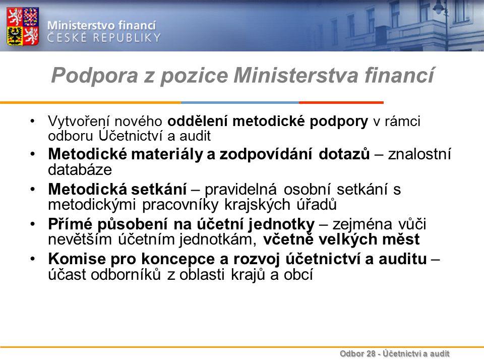 Odbor 28 - Účetnictví a audit Podpora z pozice Ministerstva financí Vytvoření nového oddělení metodické podpory v rámci odboru Účetnictví a audit Meto
