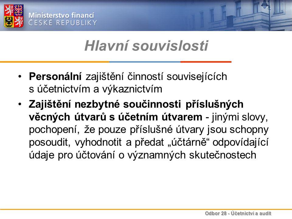 Odbor 28 - Účetnictví a audit Hlavní souvislosti Personální zajištění činností souvisejících s účetnictvím a výkaznictvím Zajištění nezbytné součinnos