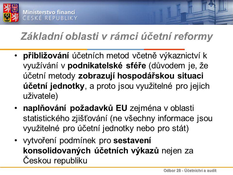 Odbor 28 - Účetnictví a audit Základní oblasti v rámci účetní reformy přibližování účetních metod včetně výkaznictví k využívání v podnikatelské sféře