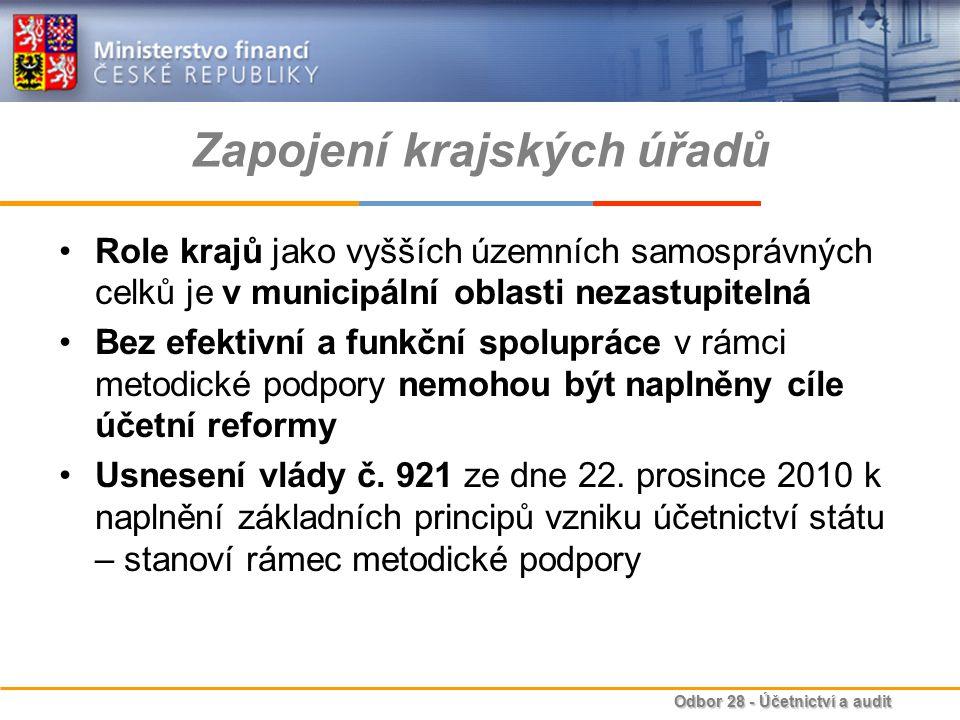Odbor 28 - Účetnictví a audit Zapojení krajských úřadů Role krajů jako vyšších územních samosprávných celků je v municipální oblasti nezastupitelná Be