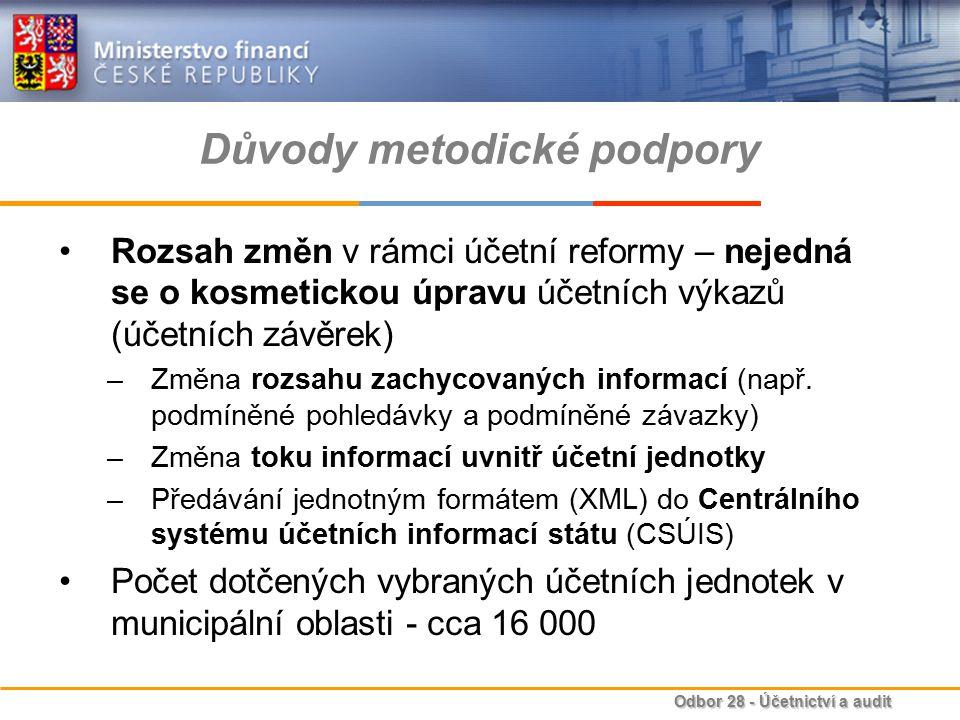 Odbor 28 - Účetnictví a audit Důvody metodické podpory Rozsah změn v rámci účetní reformy – nejedná se o kosmetickou úpravu účetních výkazů (účetních