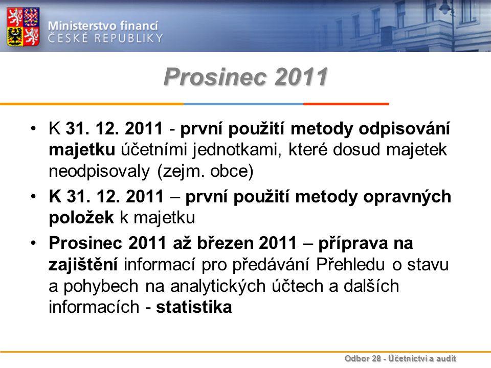 Odbor 28 - Účetnictví a audit Prosinec 2011 K 31. 12. 2011 - první použití metody odpisování majetku účetními jednotkami, které dosud majetek neodpiso