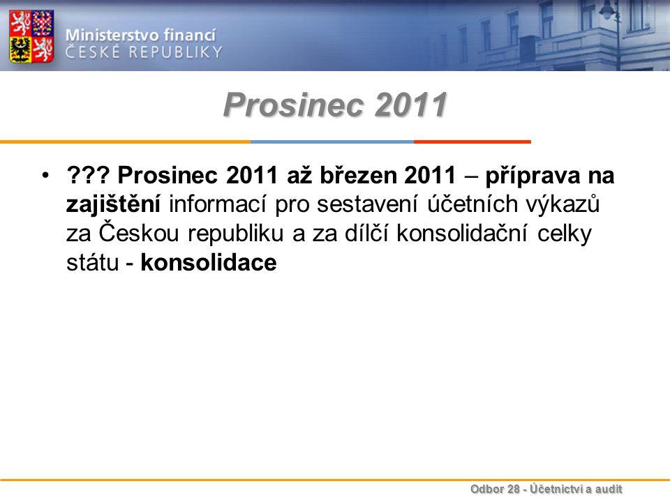 Odbor 28 - Účetnictví a audit Prosinec 2011 ??? Prosinec 2011 až březen 2011 – příprava na zajištění informací pro sestavení účetních výkazů za Českou