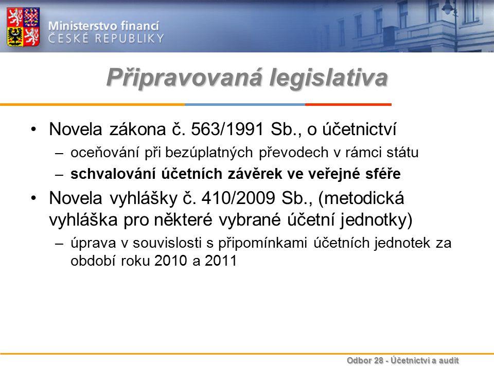 Odbor 28 - Účetnictví a audit Připravovaná legislativa Novela zákona č. 563/1991 Sb., o účetnictví –oceňování při bezúplatných převodech v rámci státu