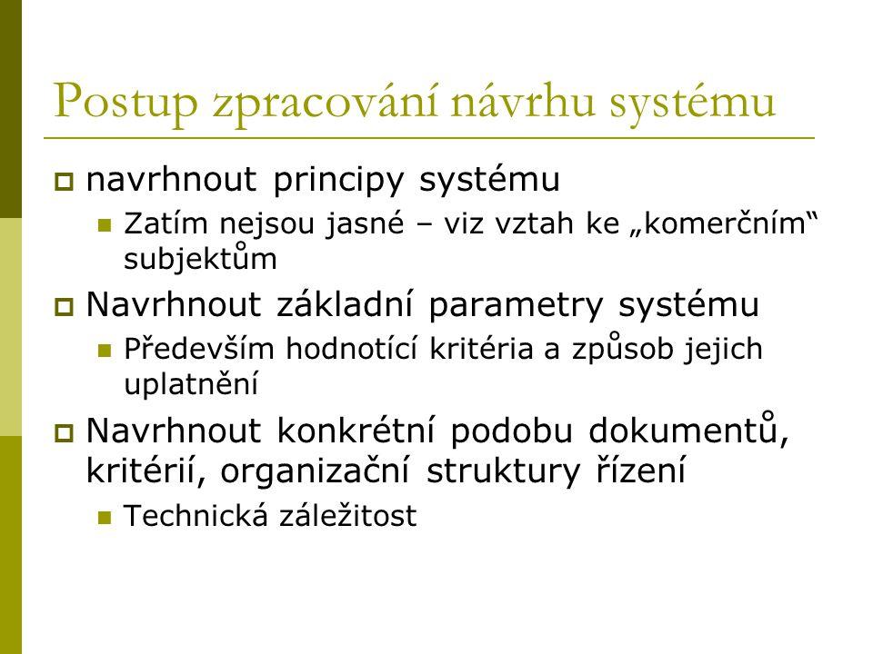 """Postup zpracování návrhu systému  navrhnout principy systému Zatím nejsou jasné – viz vztah ke """"komerčním subjektům  Navrhnout základní parametry systému Především hodnotící kritéria a způsob jejich uplatnění  Navrhnout konkrétní podobu dokumentů, kritérií, organizační struktury řízení Technická záležitost"""