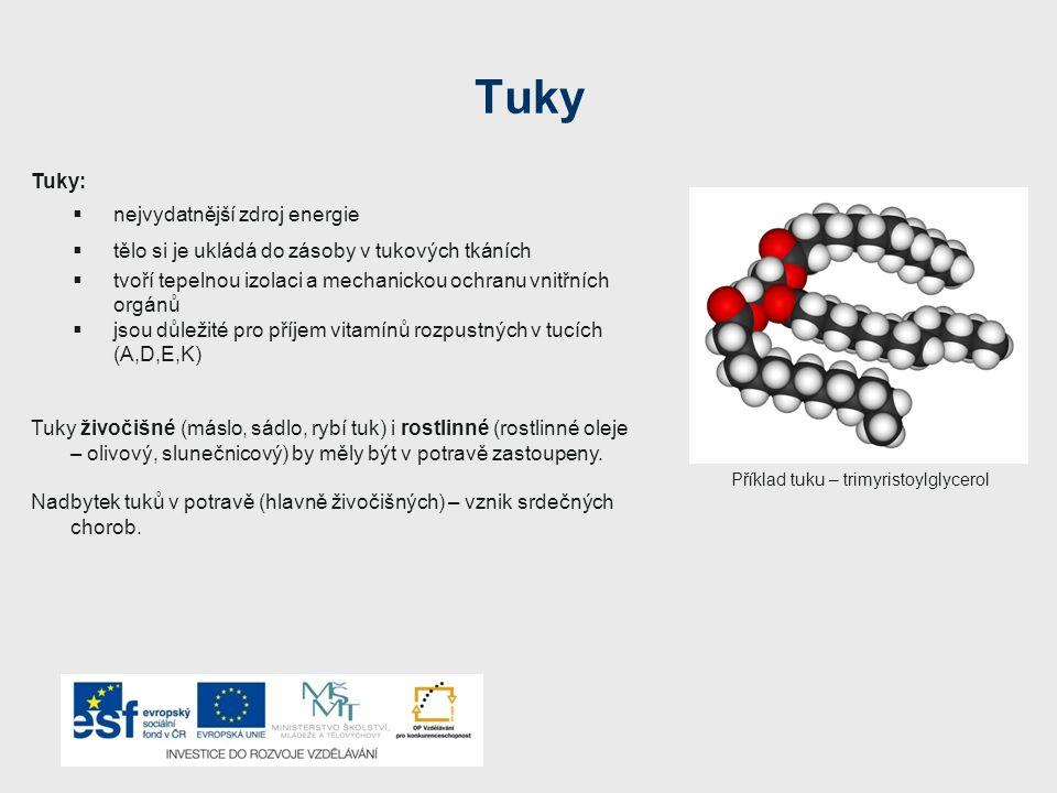 Tuky Tuky:  nejvydatnější zdroj energie  tělo si je ukládá do zásoby v tukových tkáních  tvoří tepelnou izolaci a mechanickou ochranu vnitřních orgánů  jsou důležité pro příjem vitamínů rozpustných v tucích (A,D,E,K) Tuky živočišné (máslo, sádlo, rybí tuk) i rostlinné (rostlinné oleje – olivový, slunečnicový) by měly být v potravě zastoupeny.