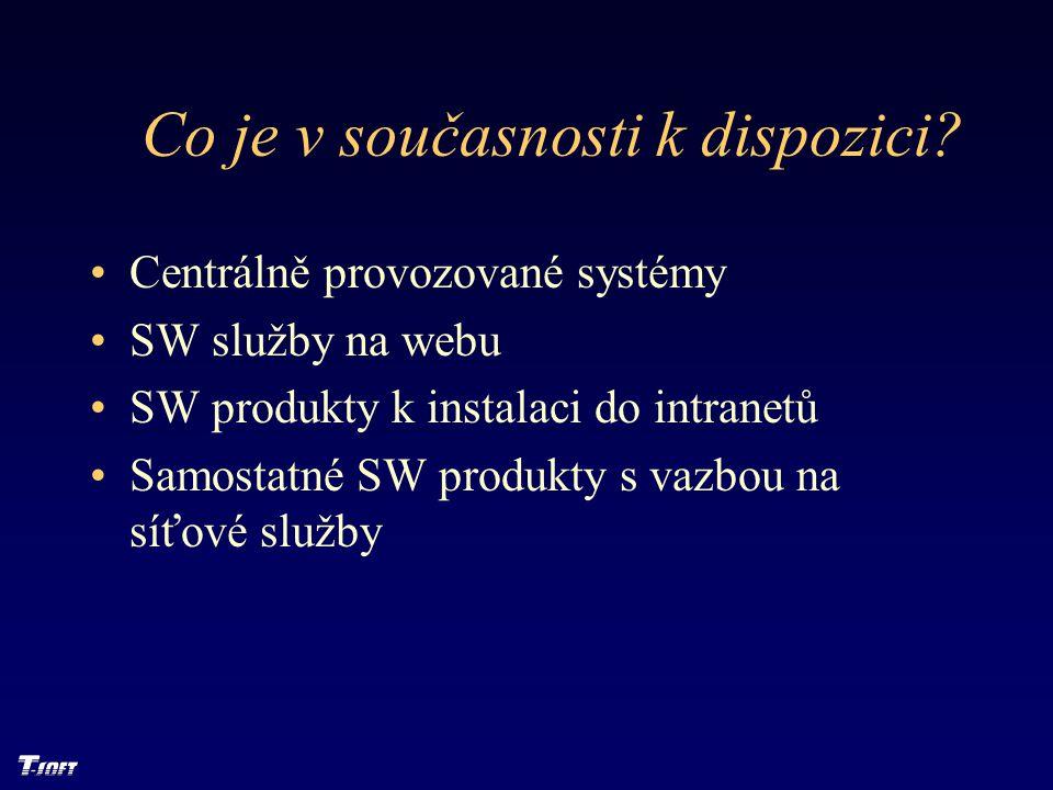Co je v současnosti k dispozici? Centrálně provozované systémy SW služby na webu SW produkty k instalaci do intranetů Samostatné SW produkty s vazbou