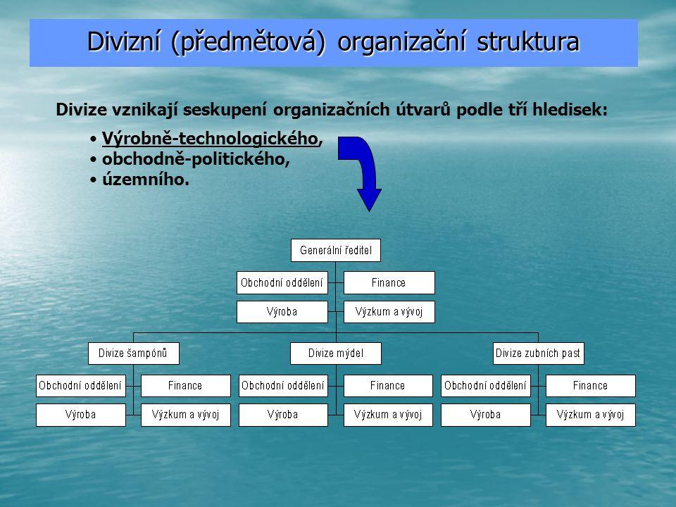 –vazby mezi složkami organizace uspořádány podle svého příspěvku k přidané hodnotě výstupu; –princip dělby práce je ve směru: výstup → vstup, –činnost